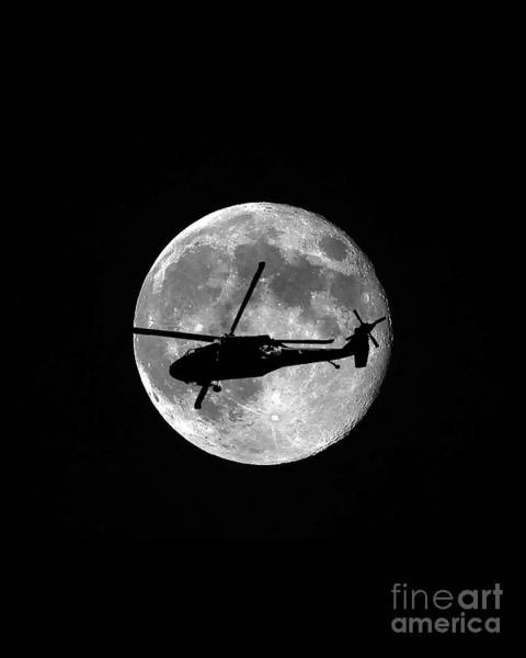 Utility Helicopter Photograph - Black Hawk Moon Vertical by Al Powell Photography USA