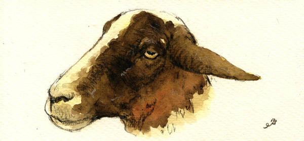 Heads Painting - Black Head Sheep by Juan  Bosco