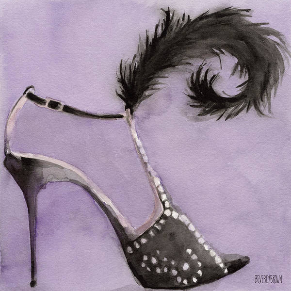 Wall Art - Painting - Black High Heel Shoe With Feather Shoes Paintings by Beverly Brown