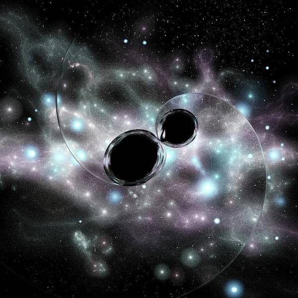Mergers Wall Art - Photograph - Black Hole Merger And Gravitational Waves by Russell Kightley
