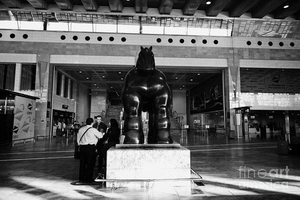 Prat Photograph - Black Horse Sculpture By Botero In Barcelona El Prat Airport Terminal 2 Catalonia Spain by Joe Fox