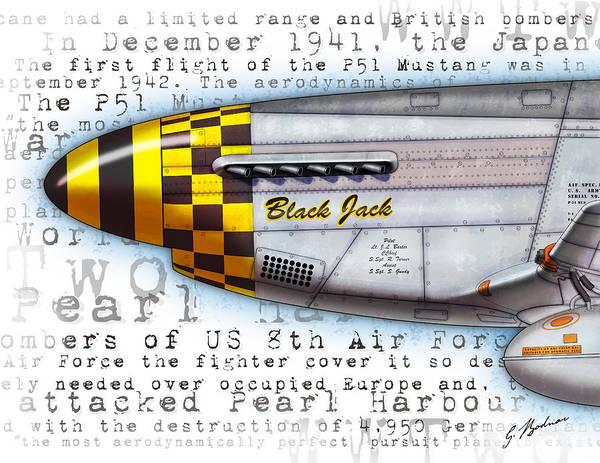 Nose Digital Art - Black Jack P-51 Mustang Nose Art by Gary Bodnar