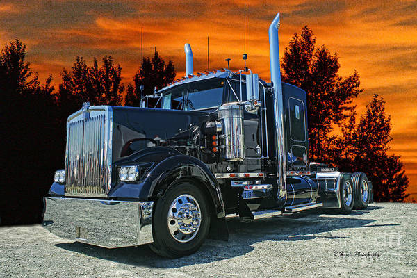 Semi Truck Photograph - Black Kenworth by Randy Harris