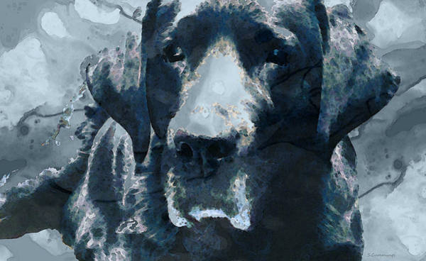 Painting - Black Lab Art - To The Moon And Back - By Sharon Cummings by Sharon Cummings