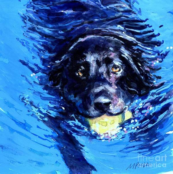 Retriever Wall Art - Painting - Black Lab  Blue Wake by Molly Poole