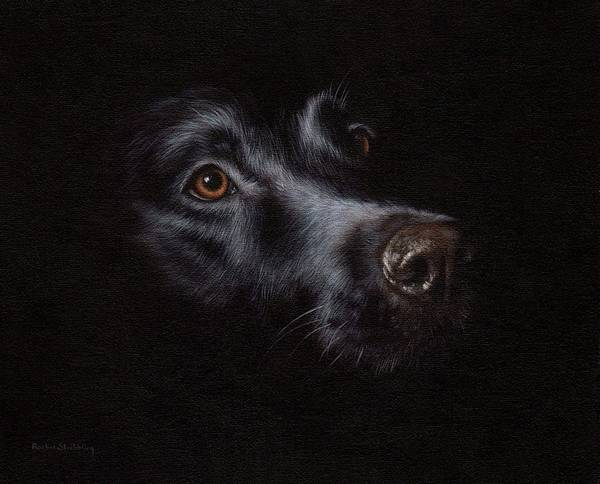 Darkness Painting - Black Labrador Painting by Rachel Stribbling
