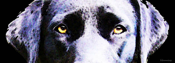Wall Art - Painting - Black Labrador Retriever Dog Art - Lab Eyes by Sharon Cummings