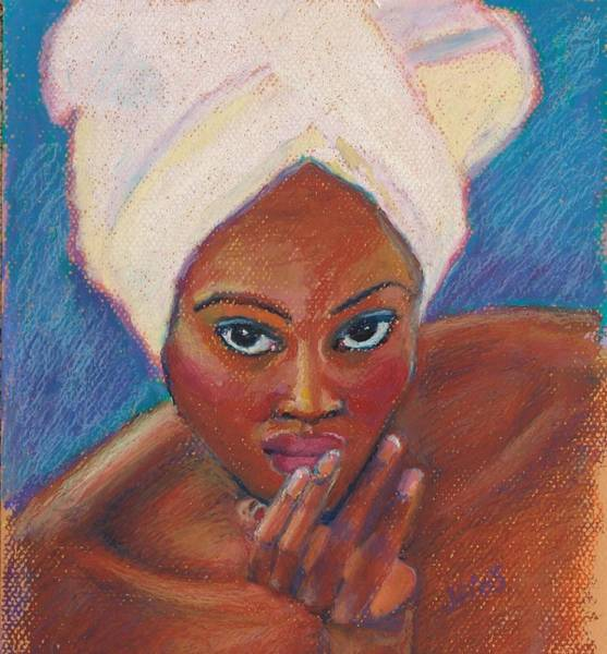 Bright Colours Mixed Media - Black Lady In Pastel by Janet Ashworth