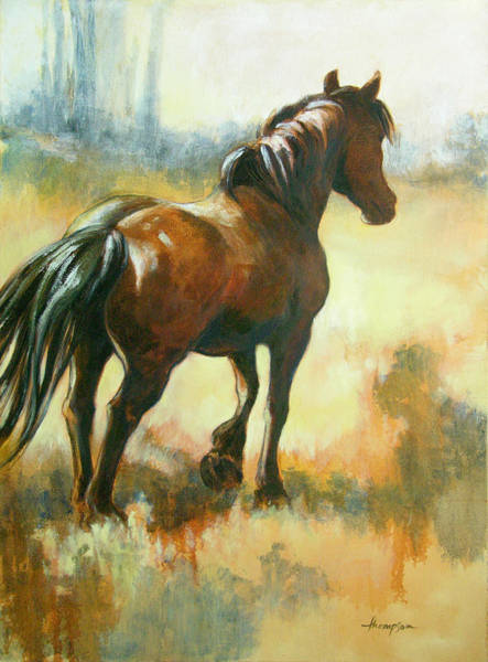 Draft Painting - Black Mare In Summer by Tracie Thompson