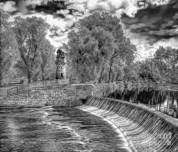 Photograph - Black N White Dam And Lighthouse by Jim Lepard
