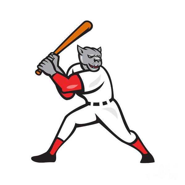 Puma Digital Art - Black Panther Baseball Player Batting Isolated by Aloysius Patrimonio