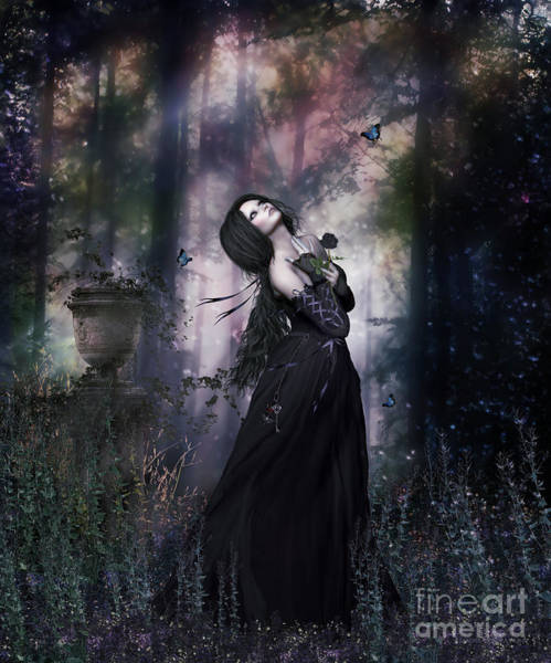 Wall Art - Digital Art - Black Rose Gothic by Shanina Conway