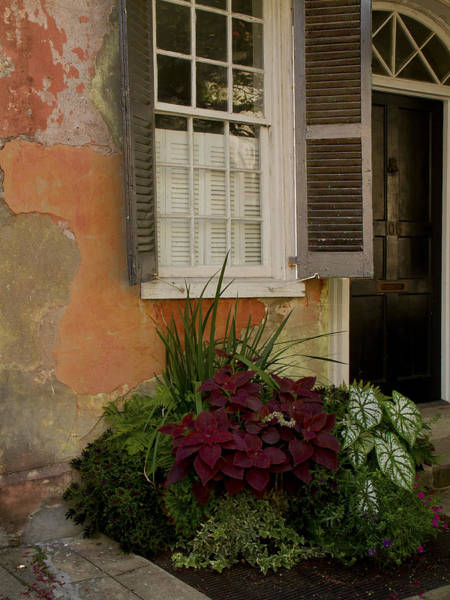 Sandra Anderson Wall Art - Photograph - Black Shutters With Flower Bed by Sandra Anderson