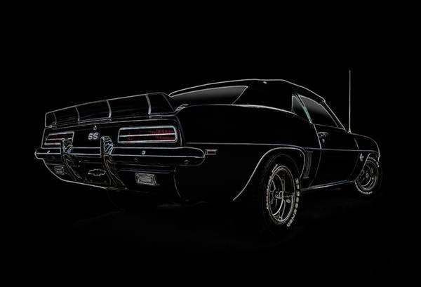 Camaro Wall Art - Digital Art - Black Ss Line Art by Douglas Pittman
