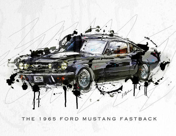 Wall Art - Digital Art - Black Stallion 1965 Ford Mustang Fastback #3 by Gary Bodnar