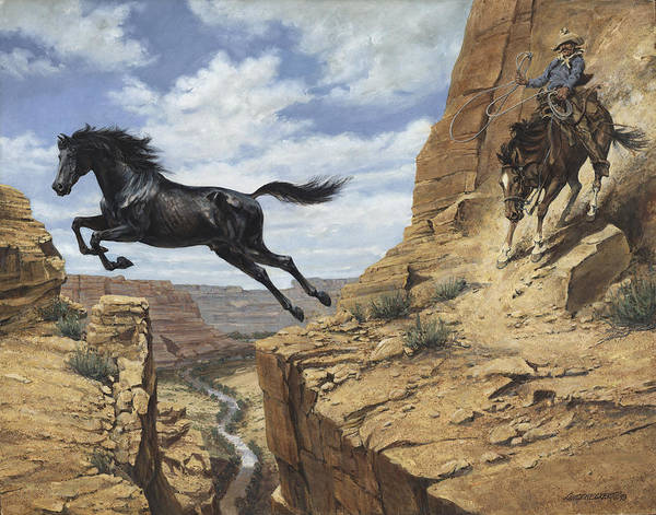 Wall Art - Painting - Black Stallion Jumping Canyon by Don  Langeneckert
