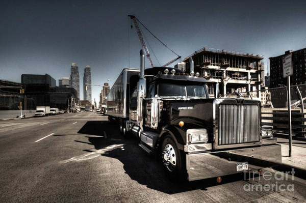 Peterbilt Photograph - Black Truck In The City  by Rob Hawkins