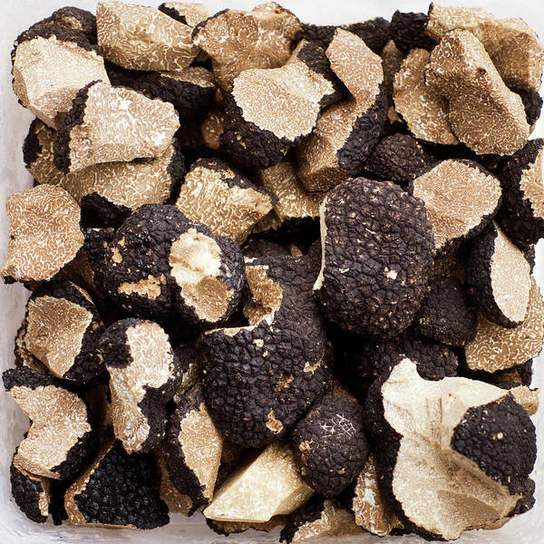 Delicatessen Photograph - Black Truffles On White Background by Johner Images