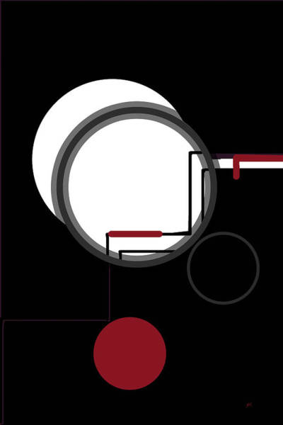 Technology Mixed Media - Black White Red Abstract by Gerlinde Keating - Galleria GK Keating Associates Inc
