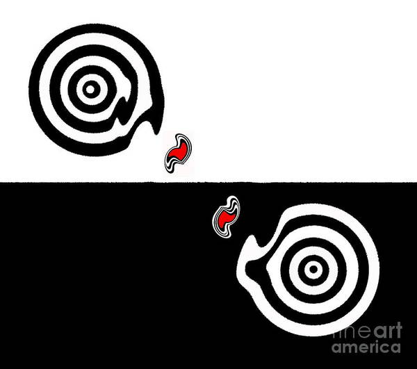 Respect Digital Art - Minimalism Black White Red Abstract Art No.109. by Drinka Mercep