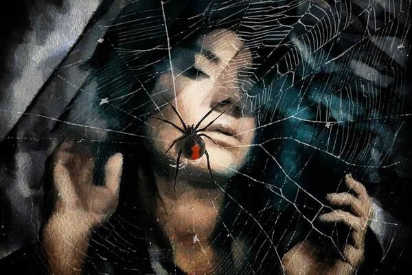 Symbolic Digital Art - Black Widow by Gun Legler