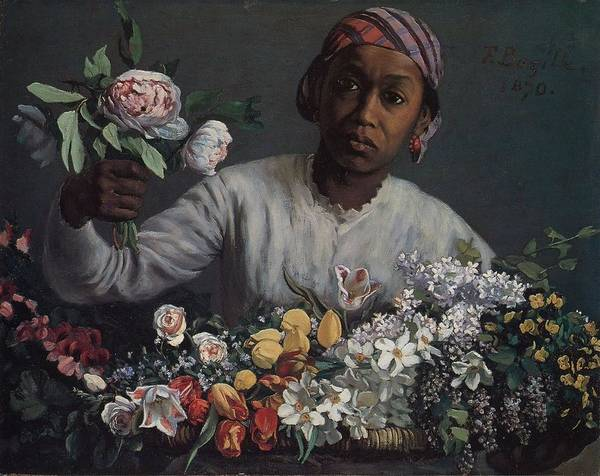 Painting - Black Woman With Peonies by Celestial Images