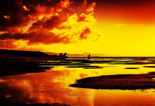 Black Yellow And Orange Sunrise Abstract Art Print