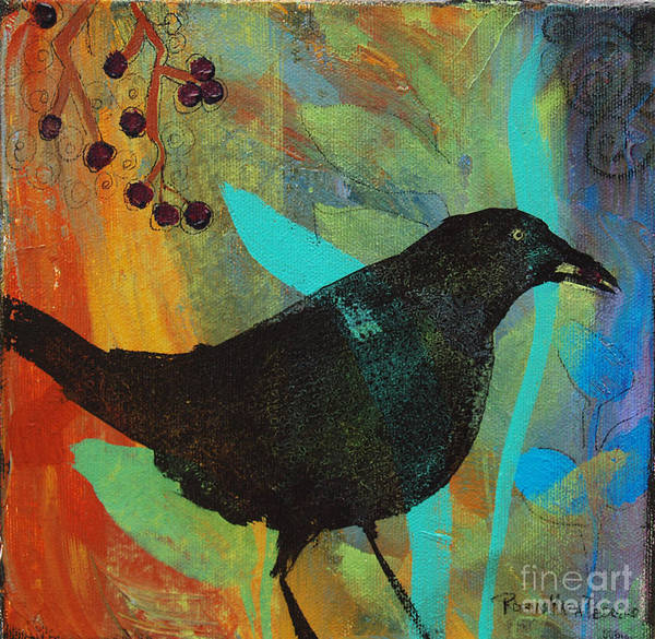 Painting - Blackbird And Berries by Robin Maria Pedrero
