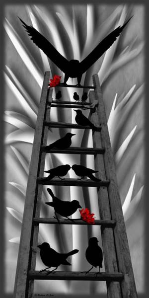 Mixed Media - Blackbird Ladder by Barbara St Jean