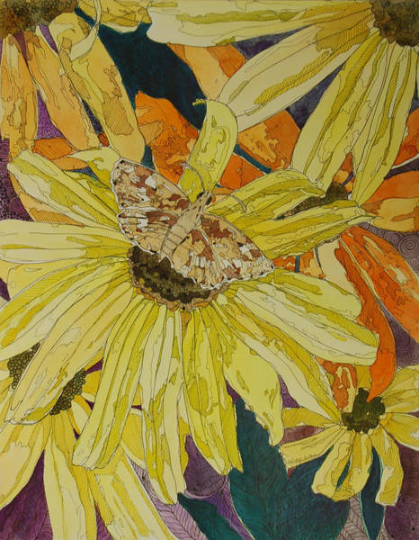 Mixed Media - Blackeyed Susans And Butterfly by Terry Holliday