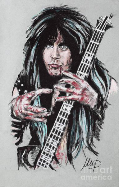 Bassist Wall Art - Drawing - Blackie Lawless by Melanie D