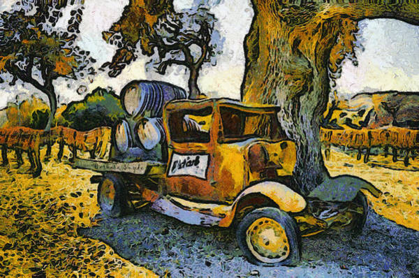 Truck Digital Art - Blackjack Winery Truck Santa Ynez California by Barbara Snyder