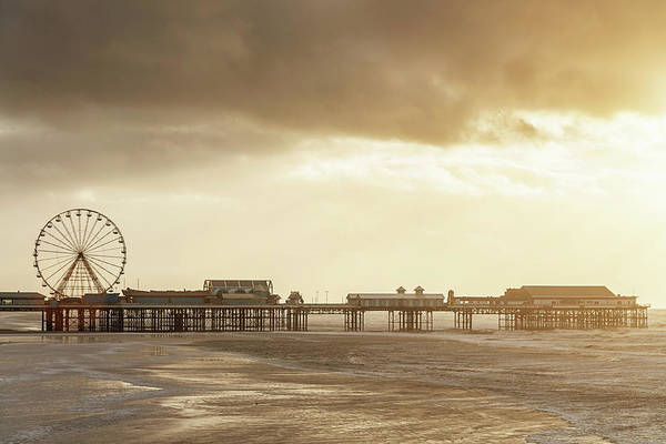 Blackpool Central Pier At Sunset Art Print