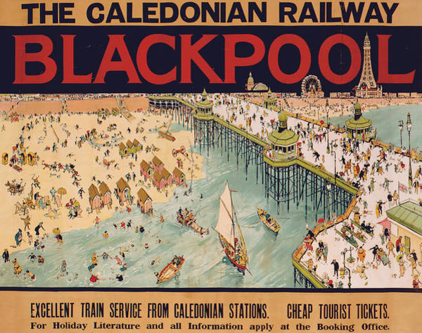 Vintage Train Painting - Blackpool by Tony Sarg