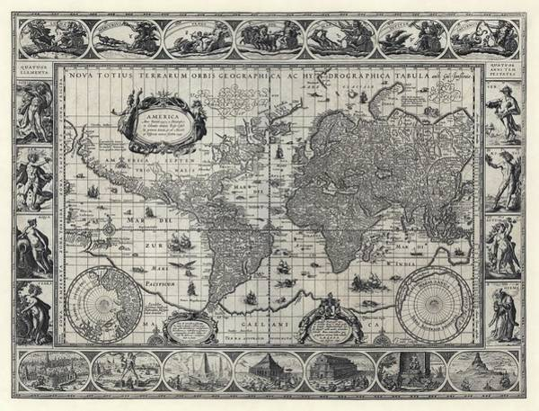 Artemis Photograph - Blaeu's World Map by Library Of Congress/science Photo Library