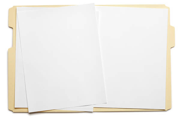 Blank Paper In An Open File Folder On White Background Art Print by Dny59
