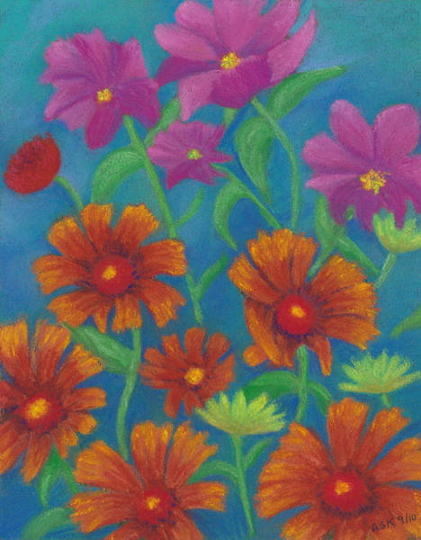 Pastel - Blanket Flowers And Cosmos by Anne Katzeff