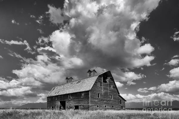 Photograph - Blasdel Barn - Black And White by Mark Kiver
