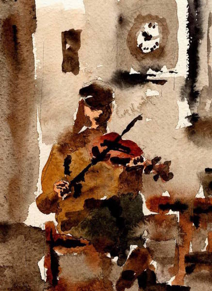 Painting - Sean O Criomhain Blasket Fiddle Player Kerry by Val Byrne