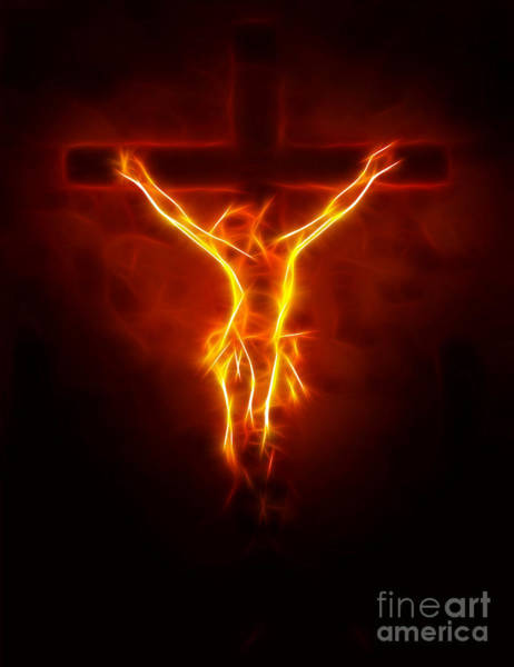 Blazing Jesus Crucifixion Art Print