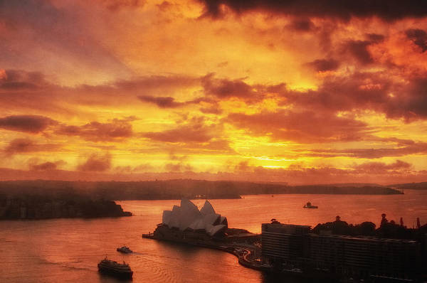 Photograph - Blazing Sunrise Over Sydney Harbour by Photography  By Sai