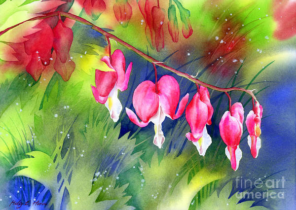 Blooming Painting - Bleeding Hearts by Hailey E Herrera