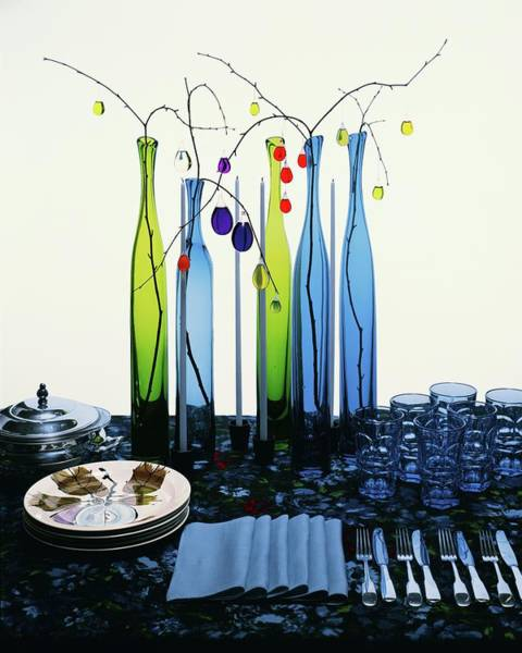 Blue Photograph - Blenko Glass Bottles by Rudy Muller