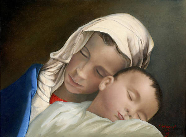 Wall Art - Painting - Baby Jesus And Blessed Mother Mary And Jesus by Cecilia Brendel