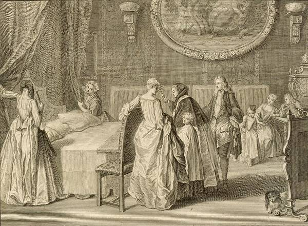 Bedroom Drawing - Blessing Of The Marriage Bed by Bernard Picart