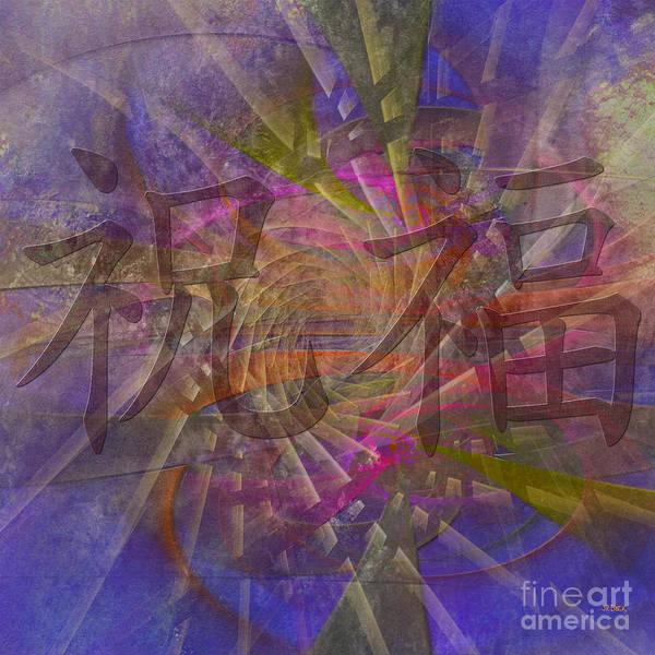 Kanji Digital Art - Blessing - Square Version by John Beck