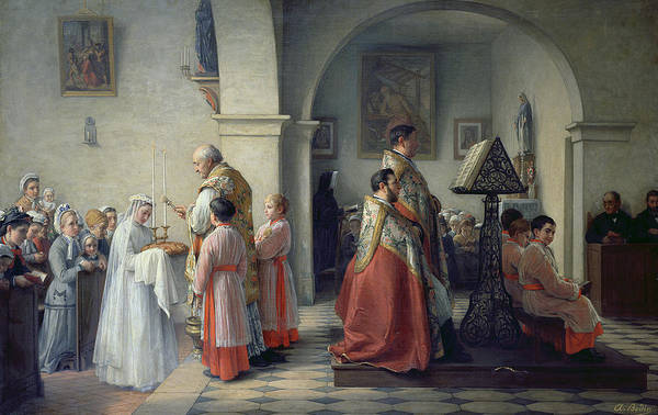 Sacrament Wall Art - Painting - Blessing The Bread by Francois Archange Bodin