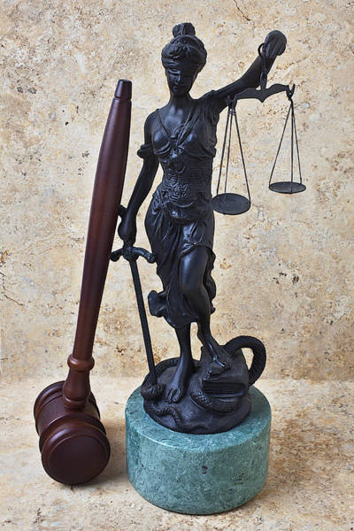 Fairness Wall Art - Photograph - Blind Justice Statue With Gavel by Garry Gay