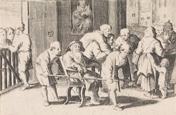 Litter Drawing - Blind, Old Man In Sedan, Cornelis De Wael by Cornelis De Wael And Anonymous