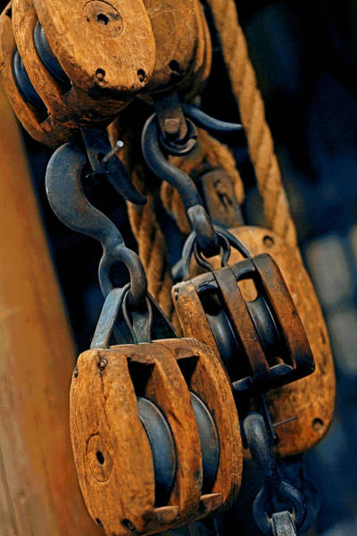 Toolshed Wall Art - Photograph - Block And Tackle by Mike Flynn